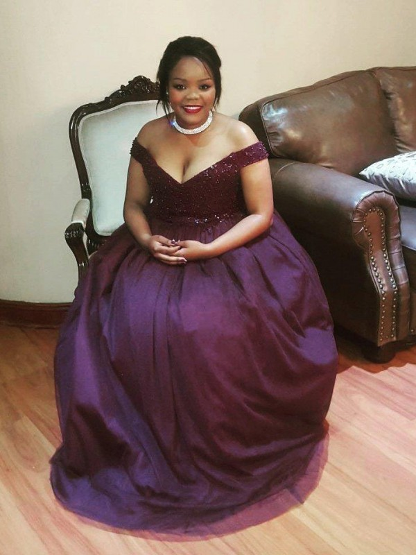 First Impressions Princess Style Off-the-Shoulder With Beading Floor-Length Tulle Plus Size Dresses