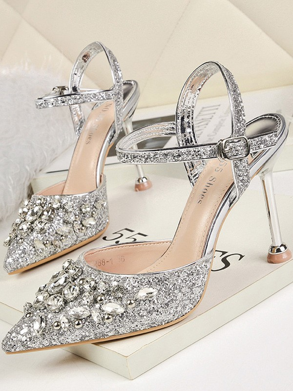 Women's Rhinestone Stiletto Heel Closed Toe Sandals