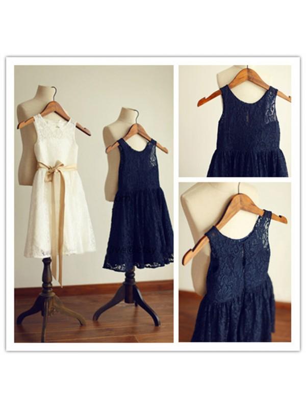 Comfortably Chic Princess Style Scoop Sash/Ribbon/Belt Long Lace Flower Girl Dresses