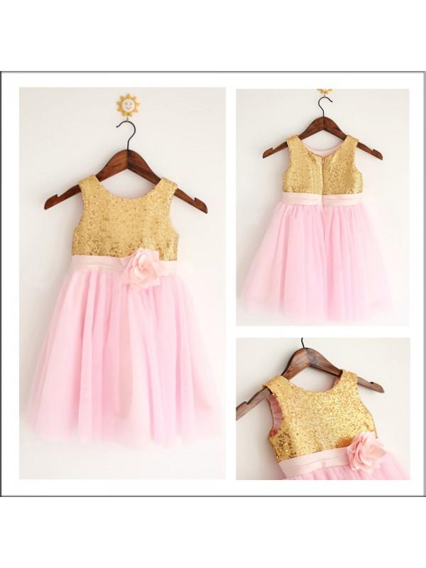 Sweet Sensation Princess Style Scoop Sequin Long Tulle Flower Girl Dresses