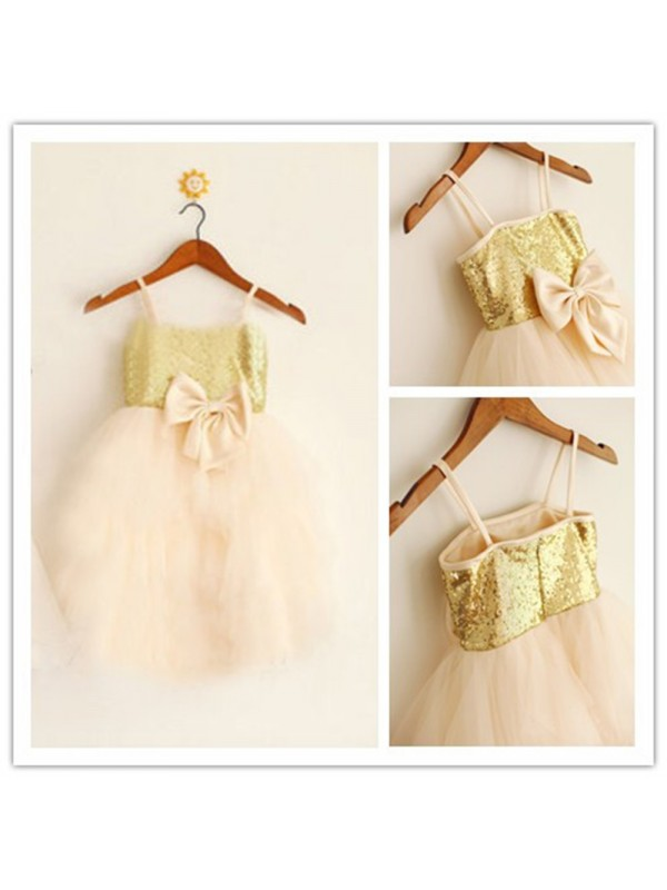 Cordially Delighted Princess Style Spaghetti Straps Sequin Long Tulle Flower Girl Dresses