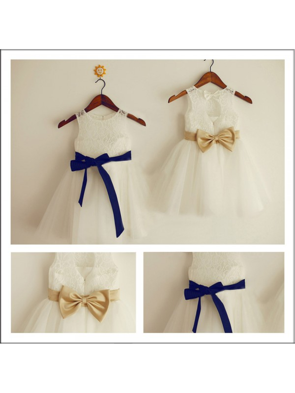 Styled to Smile Princess Style Scoop Bowknot Long Lace Flower Girl Dresses