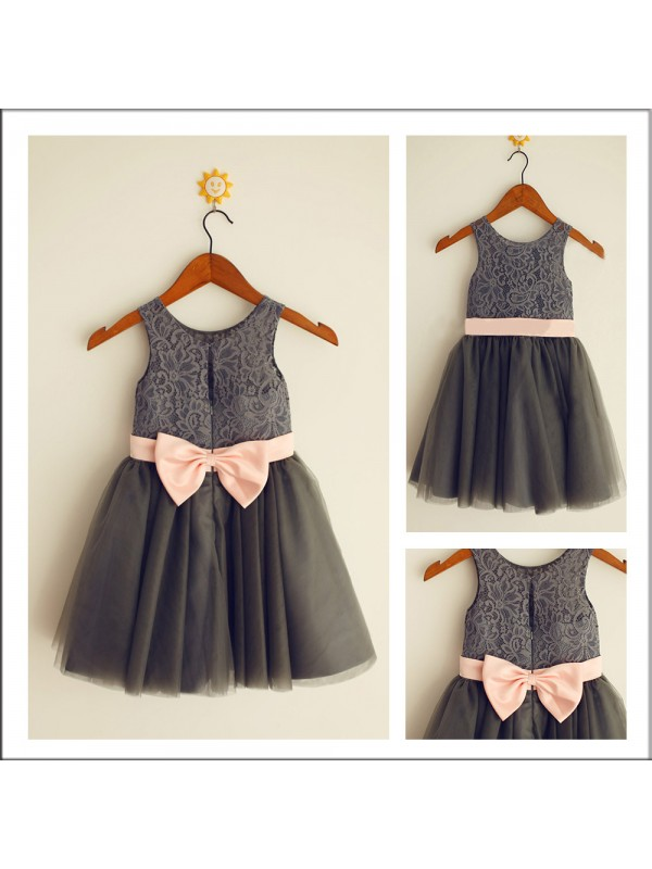 Pretty Looks Princess Style Scoop Bowknot Long Tulle Flower Girl Dresses