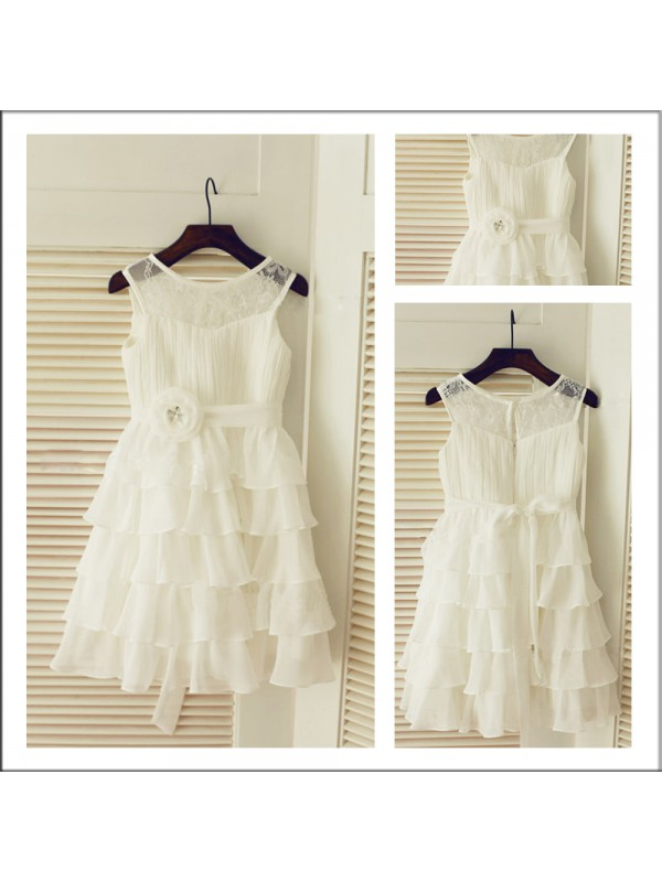 First Impressions Princess Style Scoop Layers Long Chiffon Flower Girl Dresses
