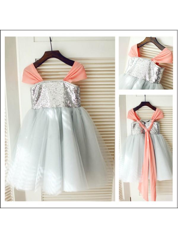 Fabulous Fit Princess Style Straps Sequin Long Tulle Flower Girl Dresses