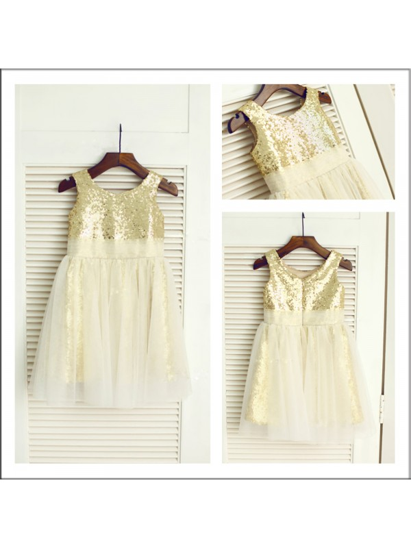 Visual Moment Princess Style Scoop Sequin Long Sequins Flower Girl Dresses