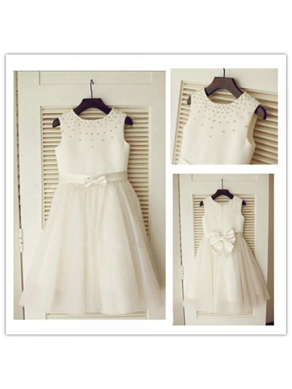 Cheerful Spirit Princess Style Scoop Bowknot Long Tulle Flower Girl Dresses