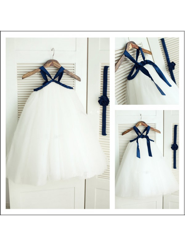 Too Much Fun Princess Style Spaghetti Straps Long Tulle Flower Girl Dresses
