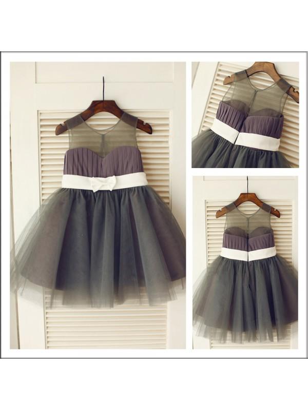 Open to Adoration Princess Style Scoop Sash/Ribbon/Belt Long Tulle Flower Girl Dresses