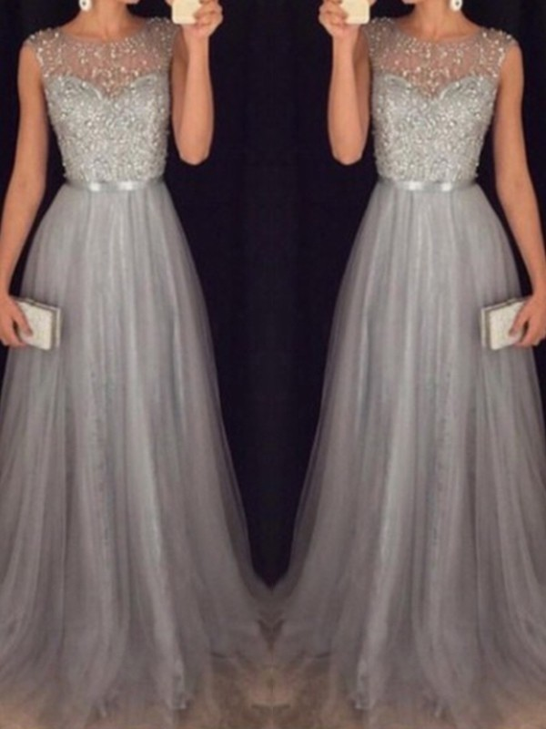 Modern Mood Princess Style Scoop Sweep/Brush Train Tulle With Beading Dresses