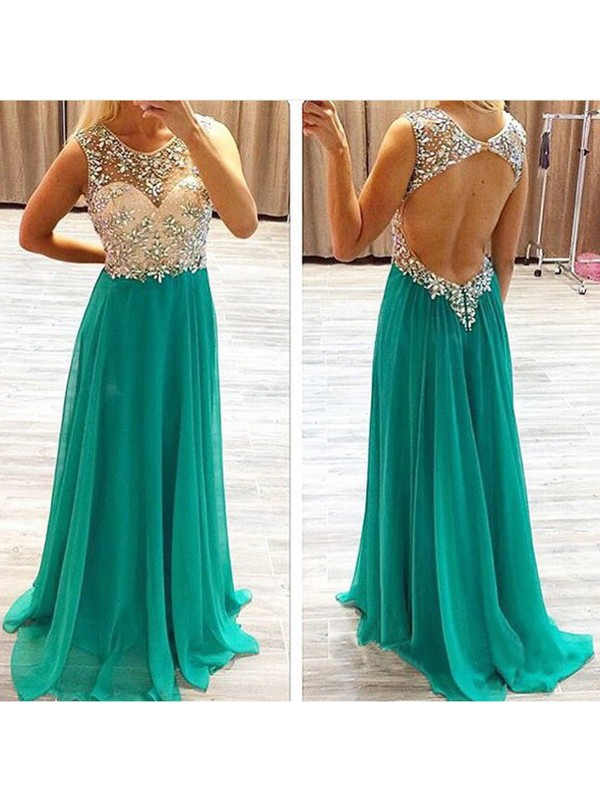 Cheerful Spirit Princess Style Beading Chiffon Sweep/Brush Train Dresses