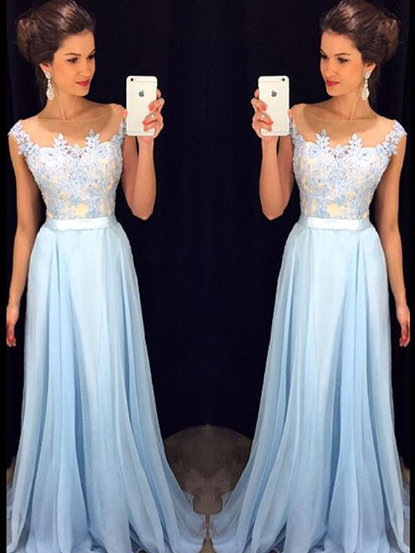 Lively Identity Princess Style Sheer Neck Applique Chiffon Sweep/Brush Train Dresses