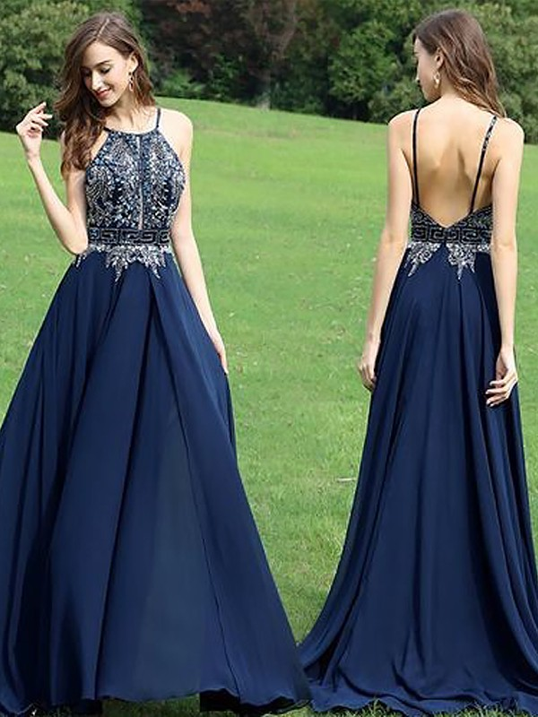 Romantic Vibes Princess Style Halter Chiffon With Beading Sweep/Brush Train Dresses