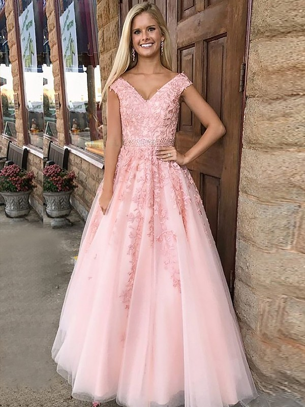 Sweet Sensation Princess Style V-Neck Floor-Length With Applique Tulle Dresses