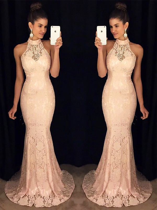 Just My Style Mermaid Style High Neck Sweep/Brush Train With Ruffles Lace Dresses