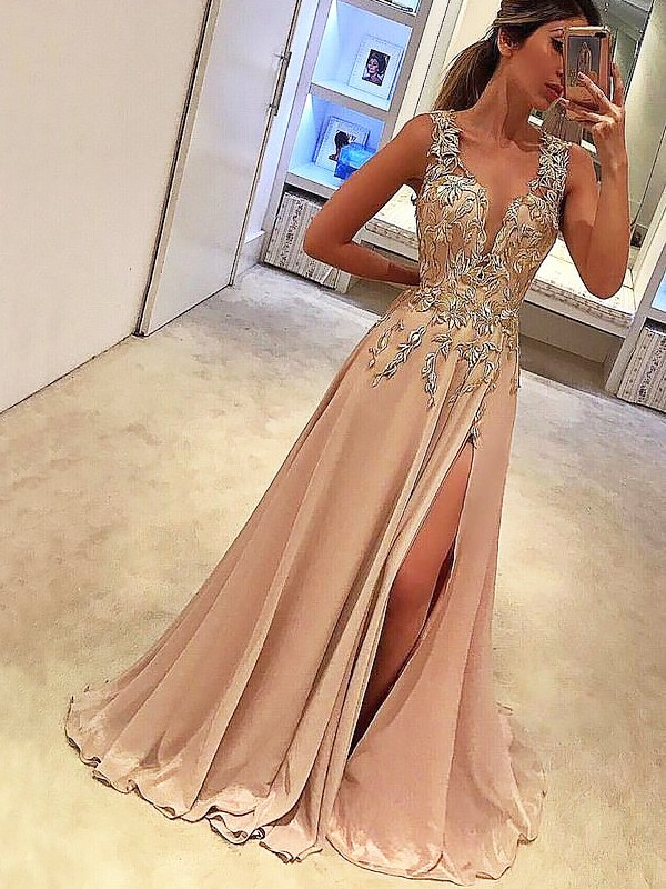 Defined Shine Princess Style V-neck Floor-Length With Applique Silk like Satin Dresses