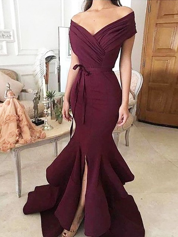 Absolute Lovely Mermaid Style Off-the-Shoulder Floor-Length With Ruched Satin Dresses
