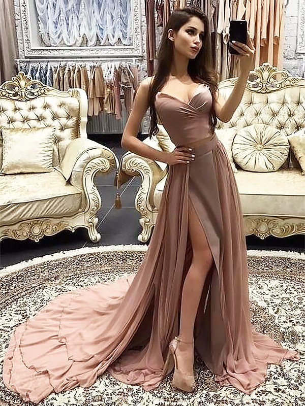 Styled to Smile Princess Style Sweetheart Sweep/Brush Train With Layers Chiffon Dresses