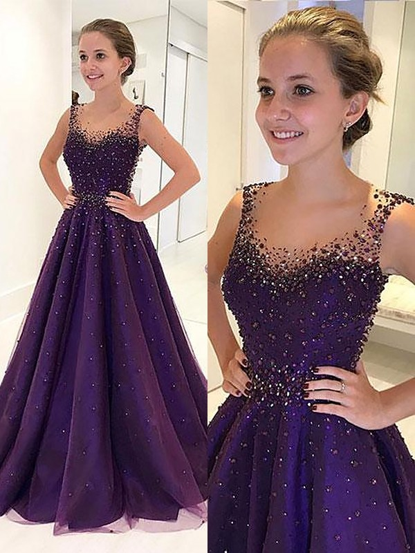 Absolute Lovely Princess Style Scoop Floor-Length Tulle With Beading Dresses