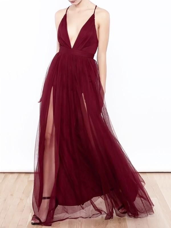 Treasured Reveries Princess Style V-neck Floor-Length Tulle With Ruffles Dresses
