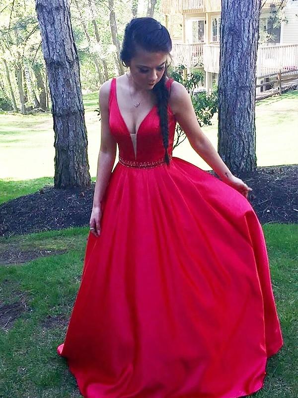 Efflorescent Dreams Princess Style V-neck Floor-Length Satin With Beading Dresses