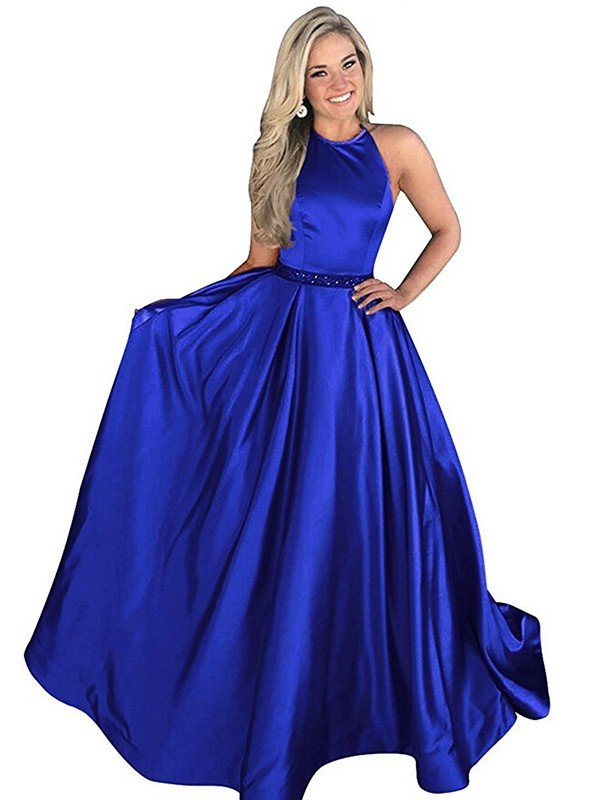 Automatic Classic Princess Style Halter Sweep/Brush Train With Beading Satin Dresses