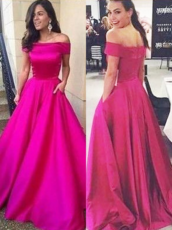 Pretty Looks Princess Style Off-the-Shoulder Sweep/Brush Train With Ruffles Satin Dresses