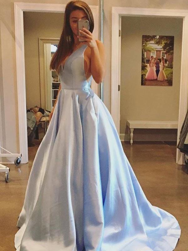 Stylish Refresh Princess Style V-neck Sweep/Brush Train With Ruffles Satin Dresses