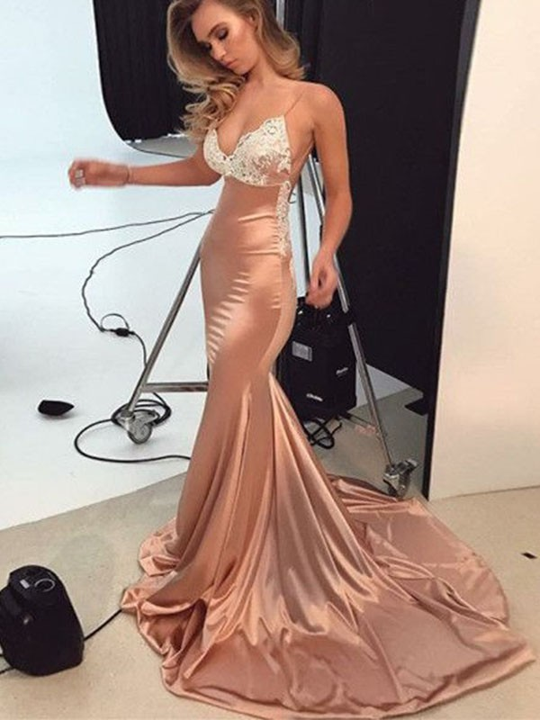 Absolute Lovely Mermaid Style Straps Sweep/Brush Train Satin Dresses