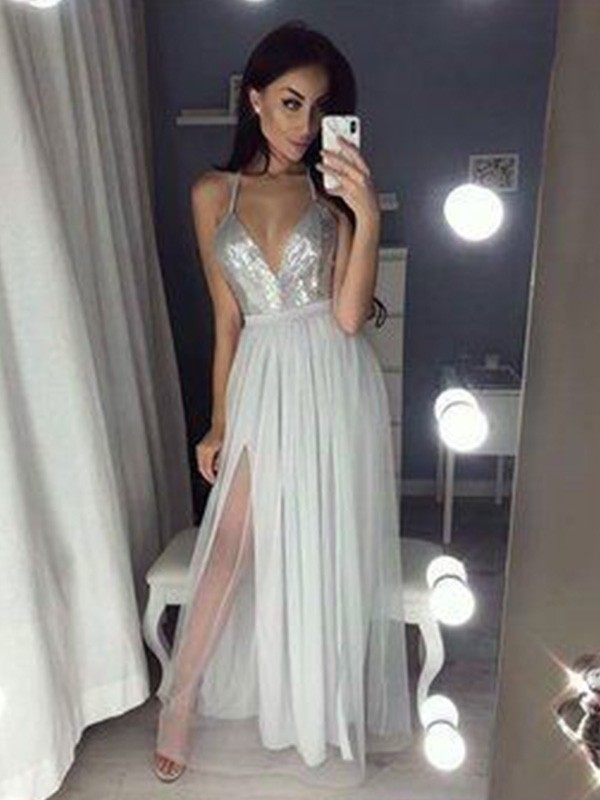 Styled to Smile Princess Style Straps V-neck With Ruched Chiffon With Beading Floor-Length Dresses