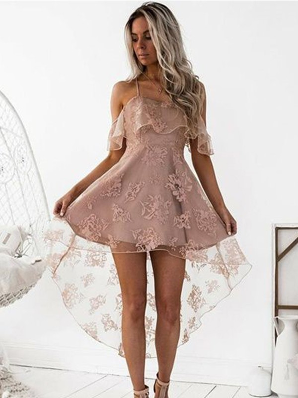 Just My Style Princess Style Off-the-Shoulder Lace Short/Mini Dresses