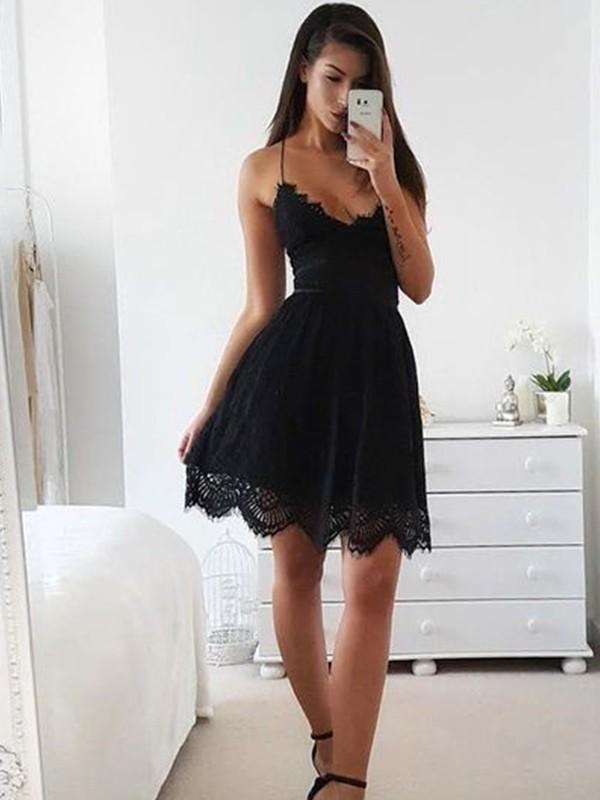 Romantic Vibes Princess Style Lace Spaghetti Straps Short/Mini Dresses