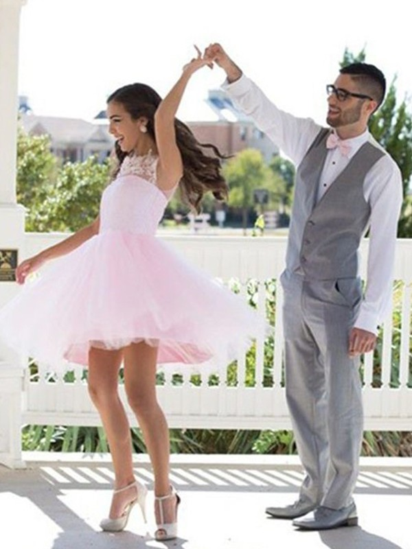 Fresh Picks Princess Style Bateau With Applique Tulle Short/Mini Dresses