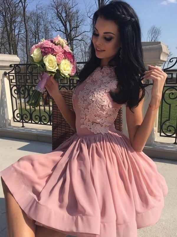 Easily Adored Princess Style Bateau Chiffon With Applique Short/Mini Dresses