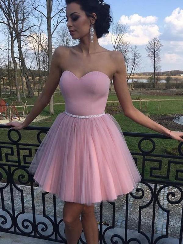 Embracing Grace Princess Style Sweetheart Pleats Tulle Short/Mini Dresses