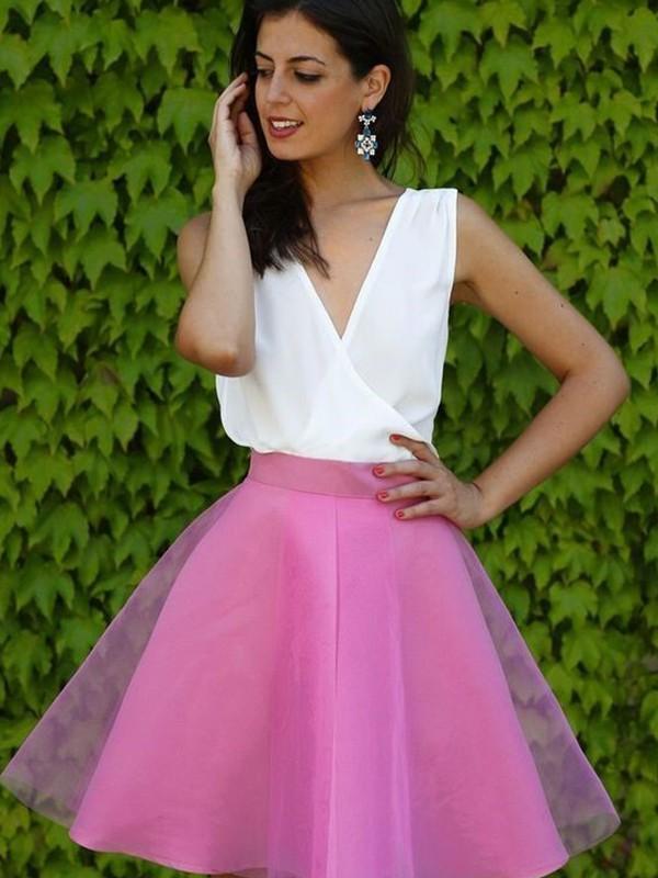 Dashing Darling Princess Style V-neck Short/Mini Tulle Dresses