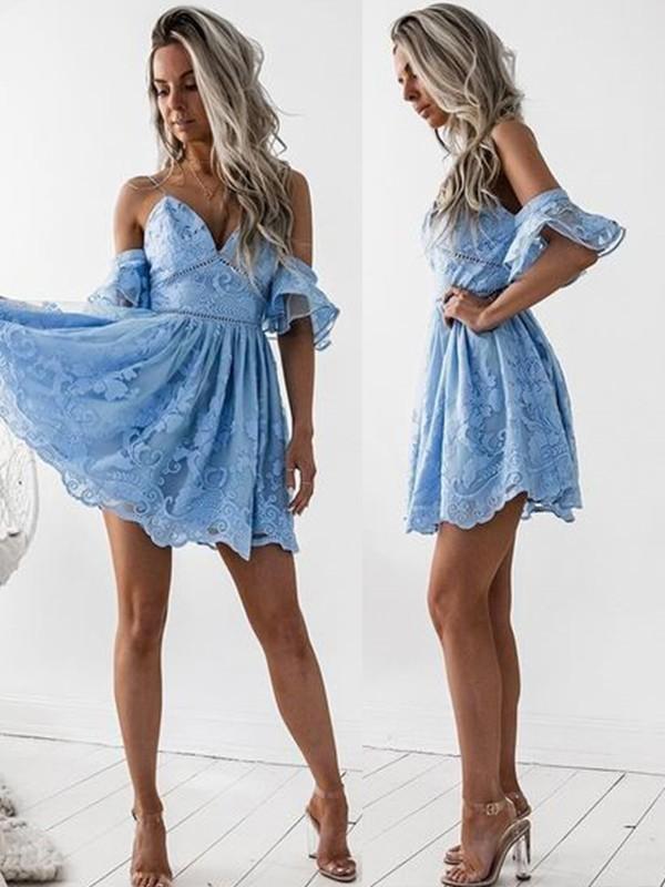 Modern Mood Princess Style Lace Spaghetti Straps Short/Mini Dresses