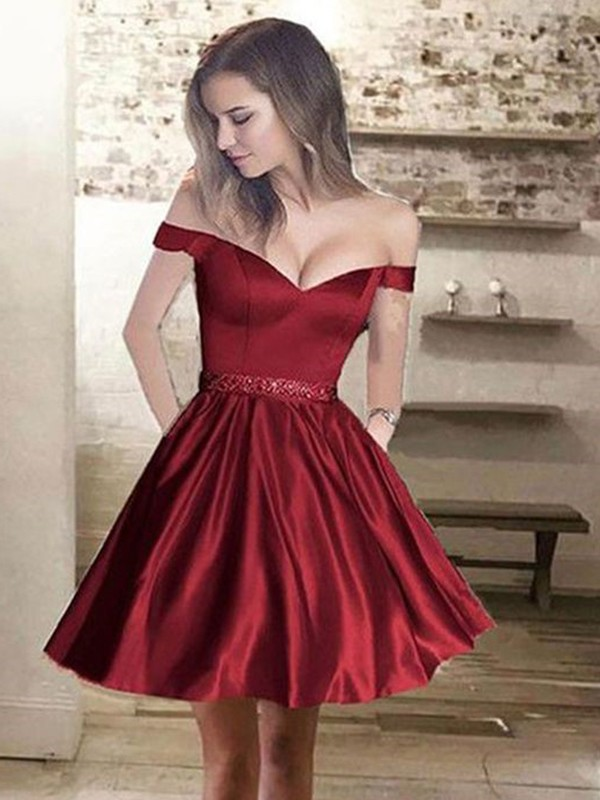 Intuitive Impact Princess Style Off-the-Shoulder Satin With Beading Short/Mini Dresses
