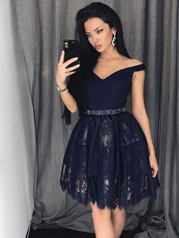 Absolute Lovely Princess Style Satin Lace Off-the-Shoulder With Beading Short/Mini Dresses