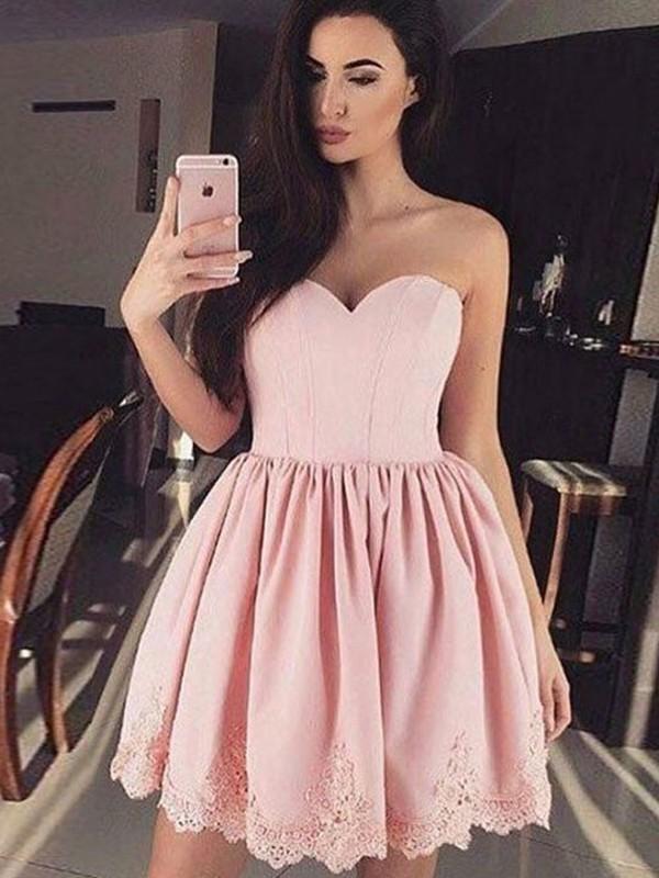 Pleasant Emphasis Princess Style Sweetheart Lace Satin Short/Mini Dresses