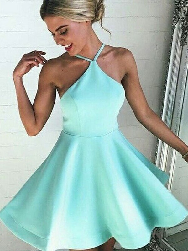 Limitless Looks Princess Style Satin Halter With Pleated Short/Mini Dresses