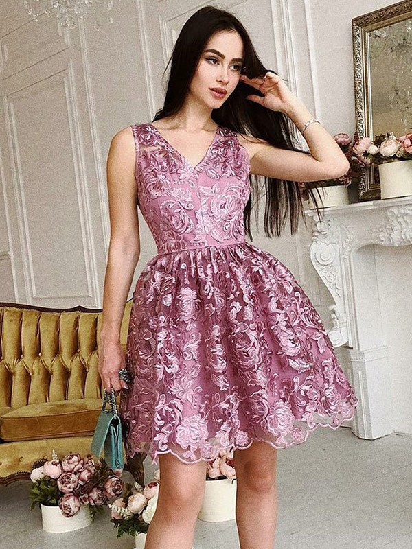 Creative Courage Princess Style V-Neck Organza With Ruched Short/Mini Dresses