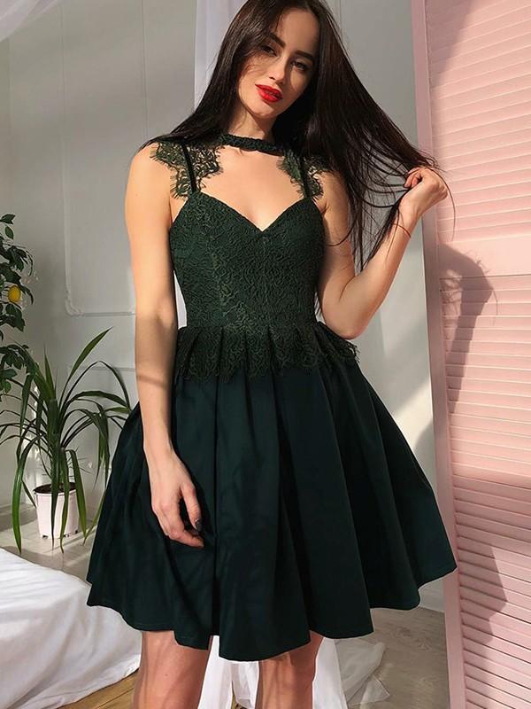 Efflorescent Dreams Princess Style V-Neck Lace Satin With Ruched Short/Mini Dresses