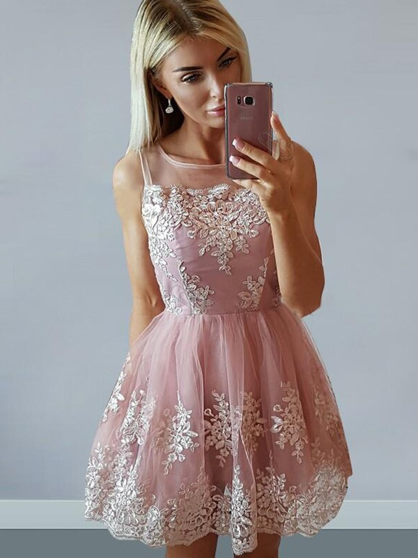 Festive Self Princess Style Tulle Scoop With Applique Short/Mini Dresses