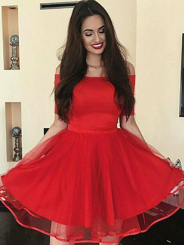 Styled to Smile Princess Style Organza Off-the-Shoulder With Ruffles Short/Mini Dresses