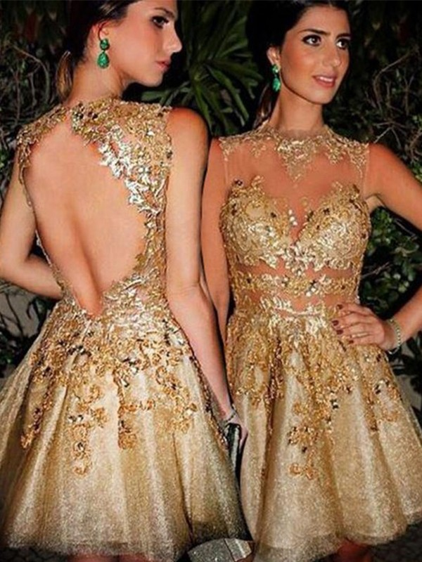 Too Much Fun Princess Style Bateau Tulle With Applique Short/Mini Dresses