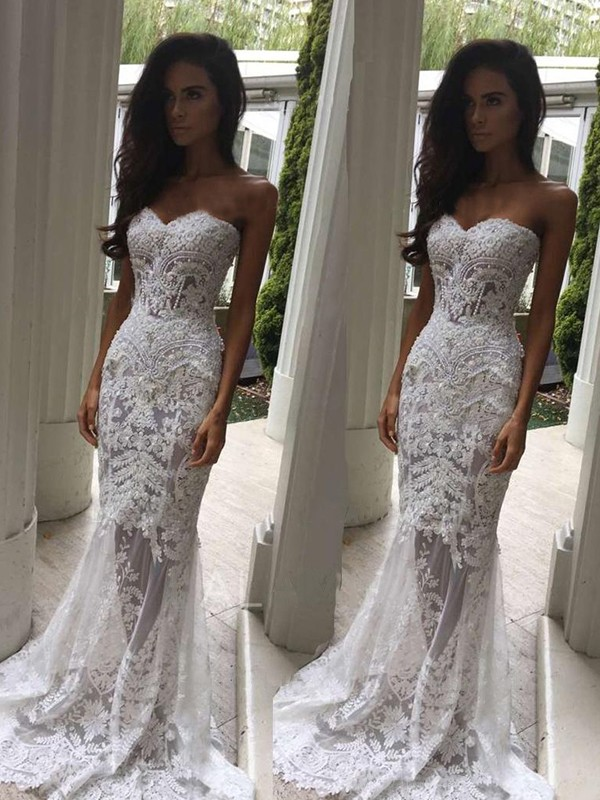 Vibrant Stylist Mermaid Style Sweetheart Court Train With Applique Lace Wedding Dresses