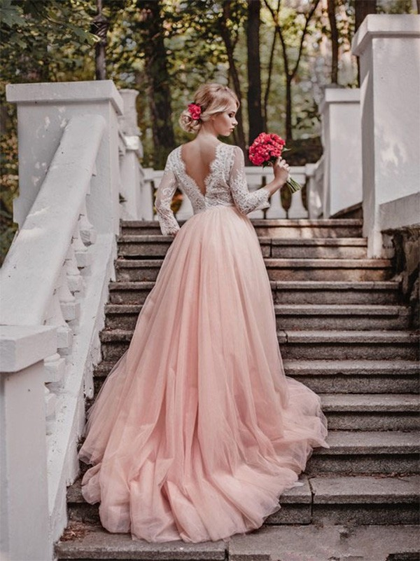 Just My Style Ball Gown V-neck Court Train With Applique Tulle Wedding Dresses