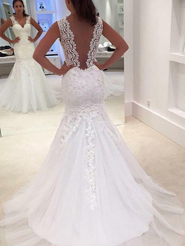 Embracing Grace Mermaid Style Court Train V-neck With Applique Lace Wedding Dresses