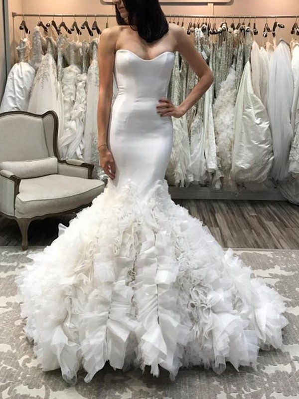 Absolute Lovely Mermaid Style Sweetheart Court Train Satin Tulle Wedding Dresses